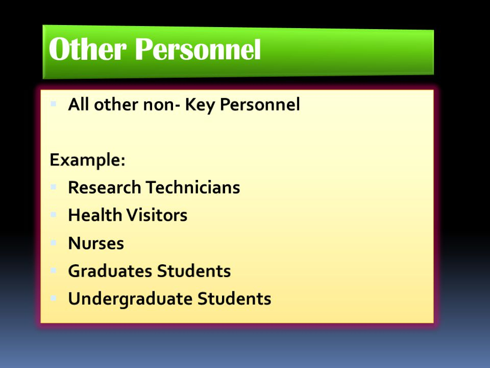 Other Personnel All other non- Key Personnel Example: