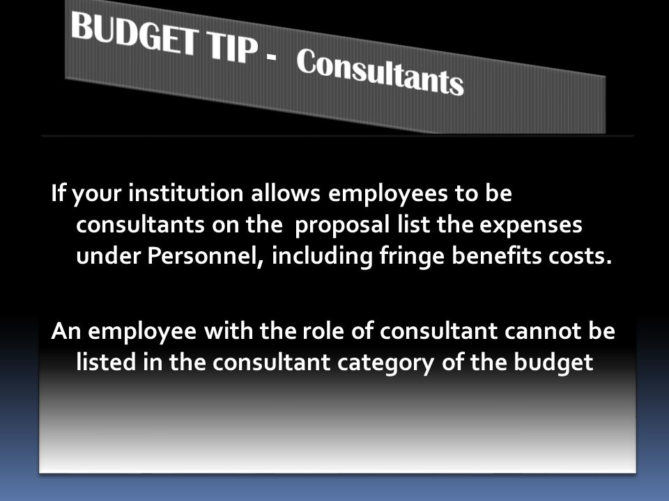 BUDGET TIP - Consultants