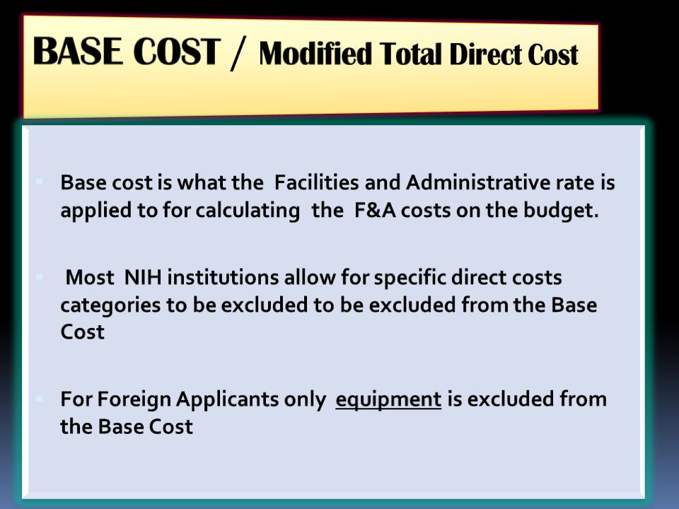 BASE COST / Modified Total Direct Cost