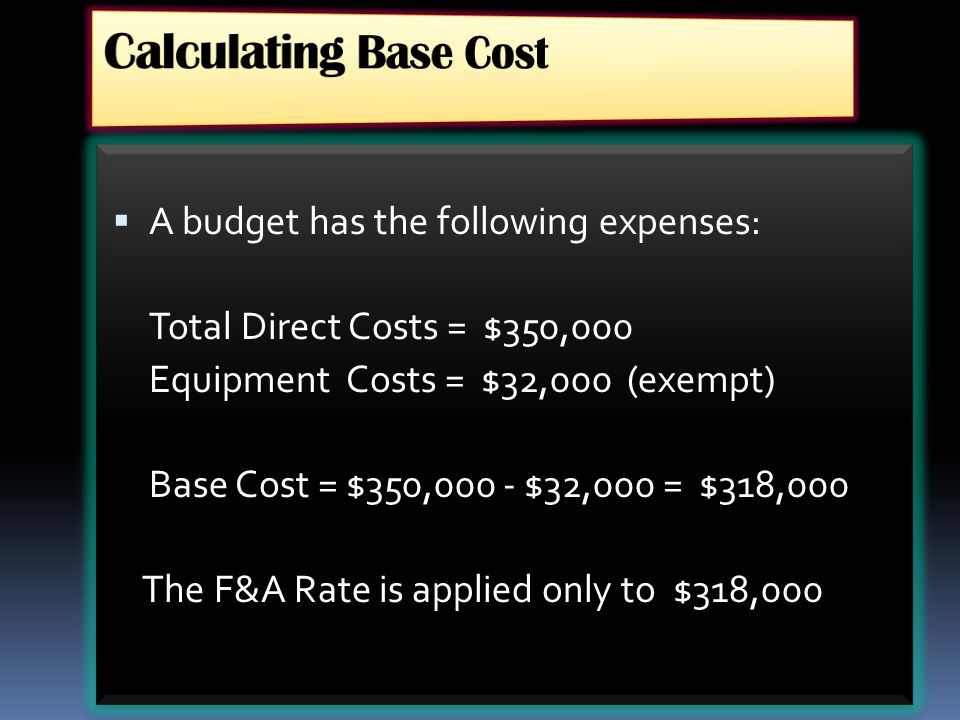 Calculating Base Cost A budget has the following expenses: