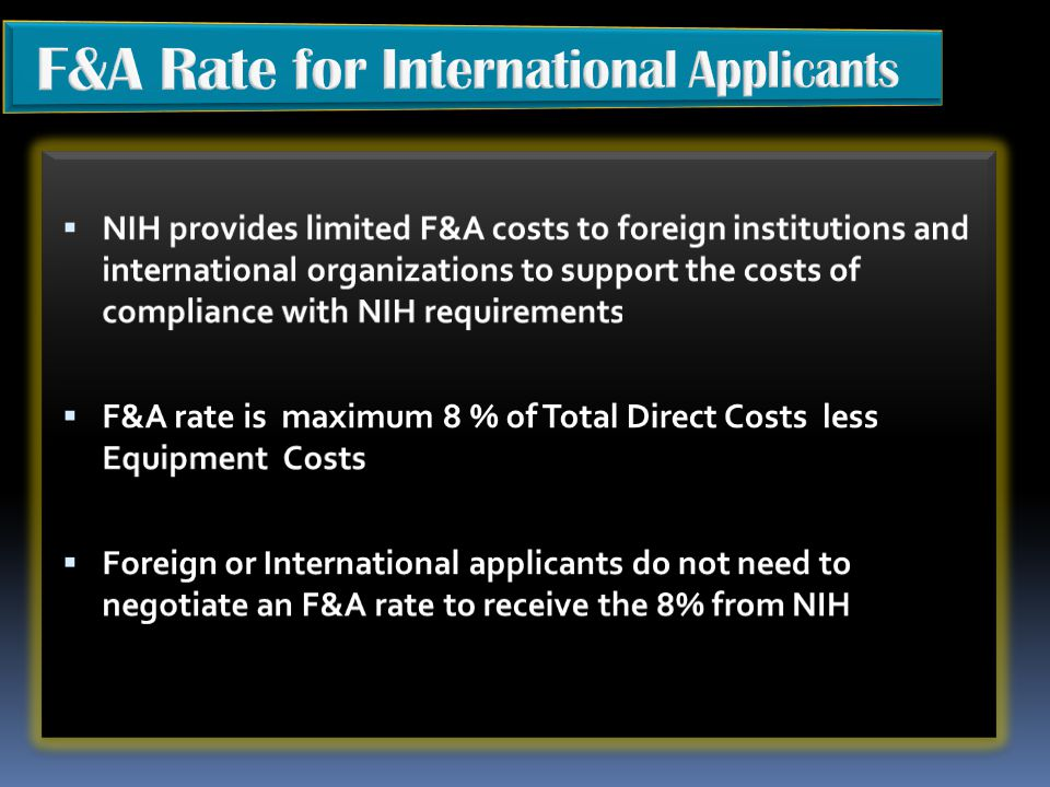 F&A Rate for International Applicants