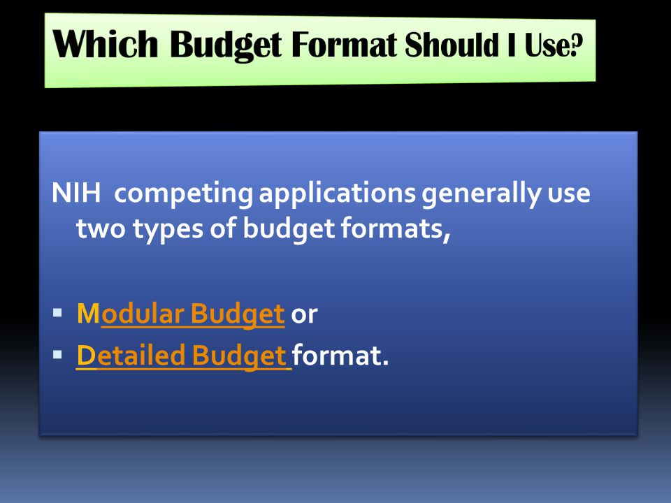 Which Budget Format Should I Use