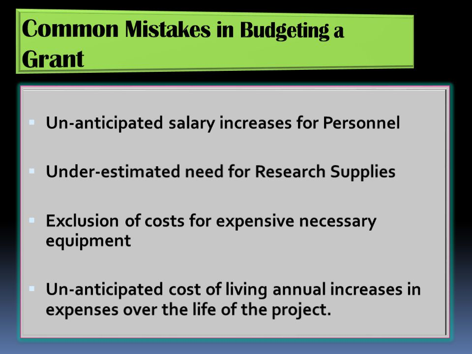 Common Mistakes in Budgeting a Grant