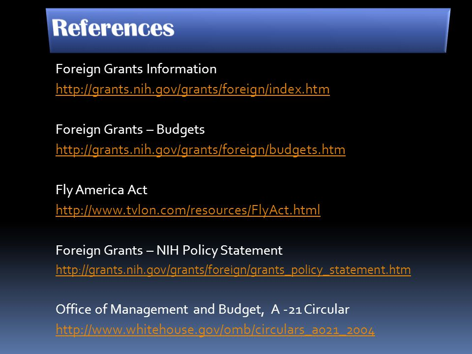 References Foreign Grants Information