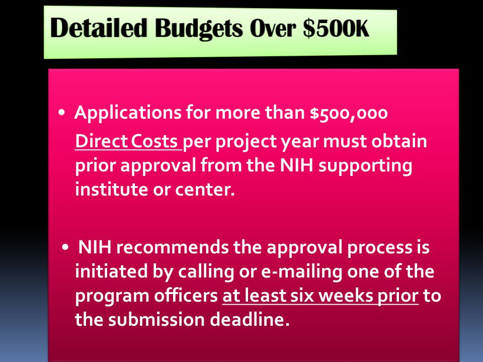 Detailed Budgets Over $500K
