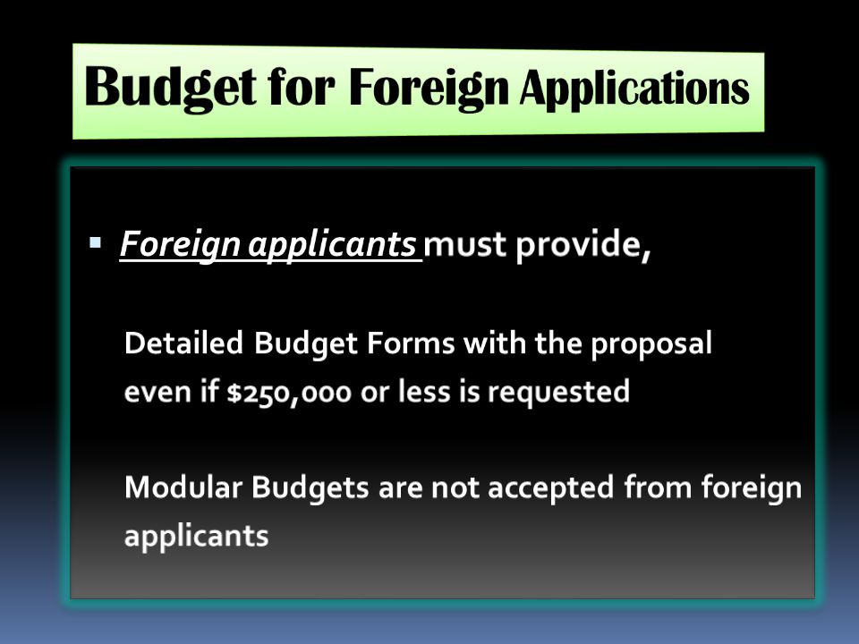 Budget for Foreign Applications
