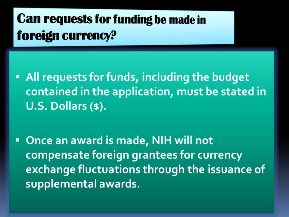 Can requests for funding be made in foreign currency