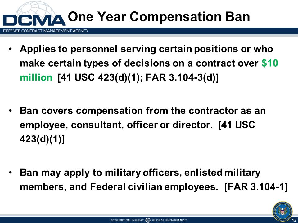 One Year Compensation Ban