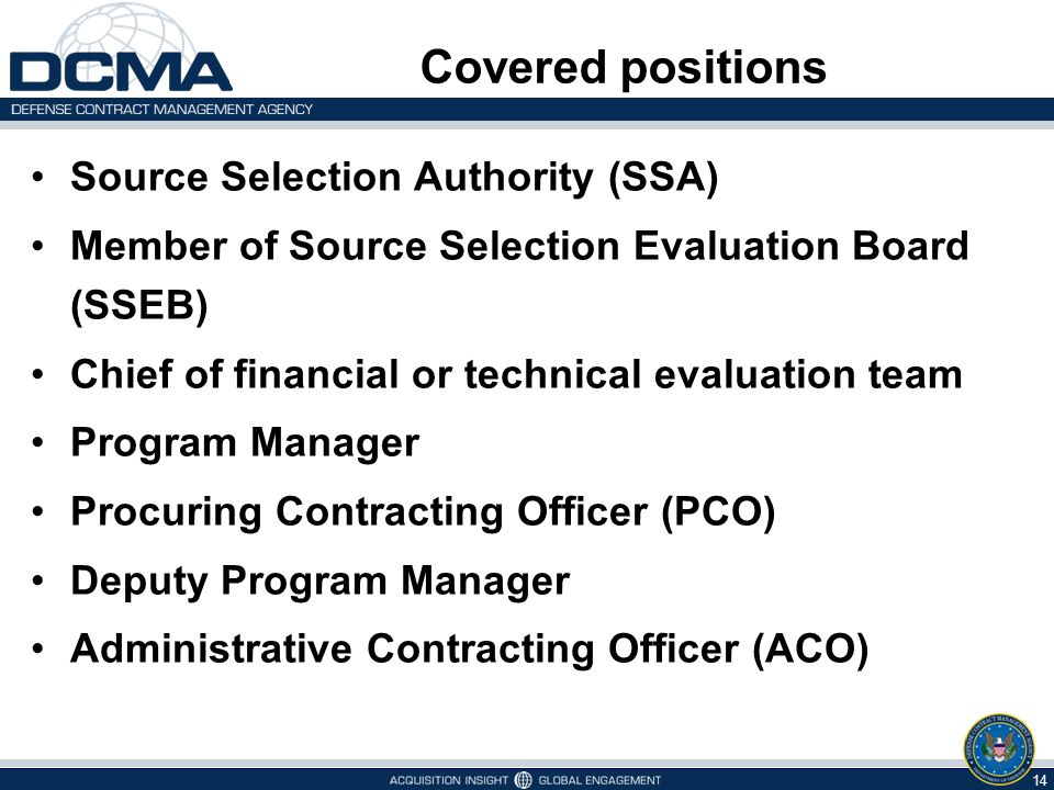 Covered positions Source Selection Authority (SSA)