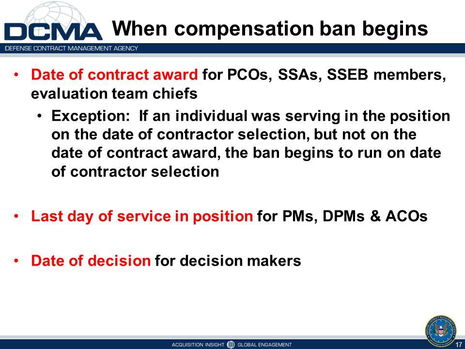 When compensation ban begins