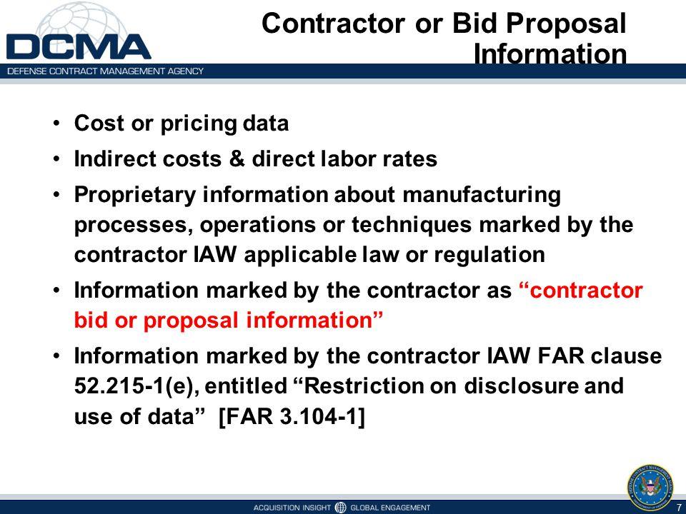 Contractor or Bid Proposal Information