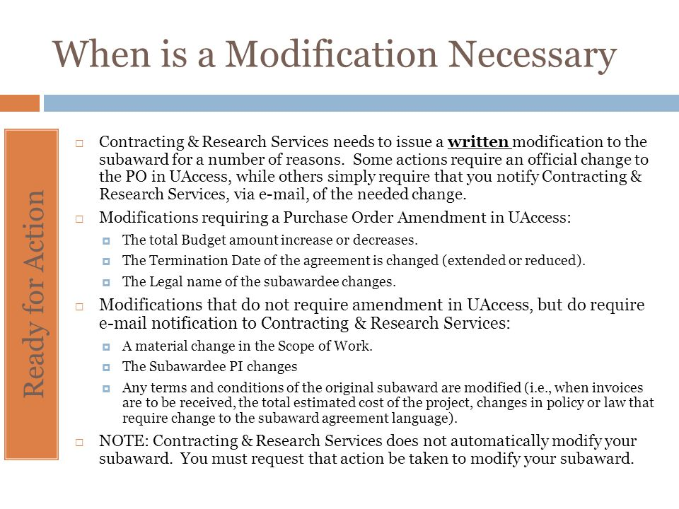 When is a Modification Necessary