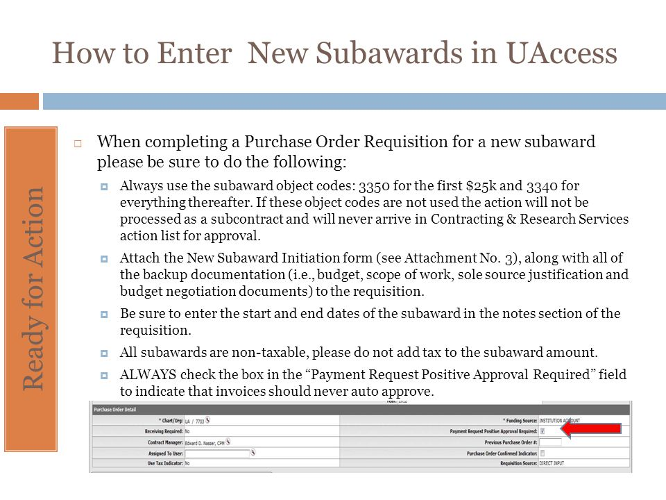 How to Enter New Subawards in UAccess