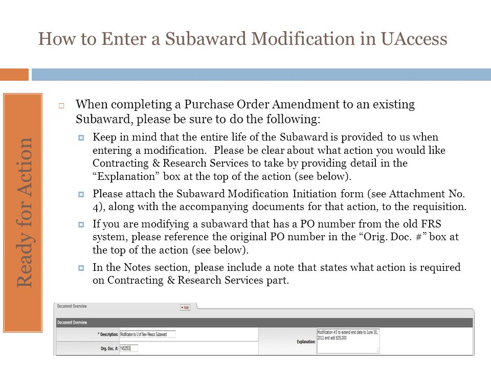 How to Enter a Subaward Modification in UAccess