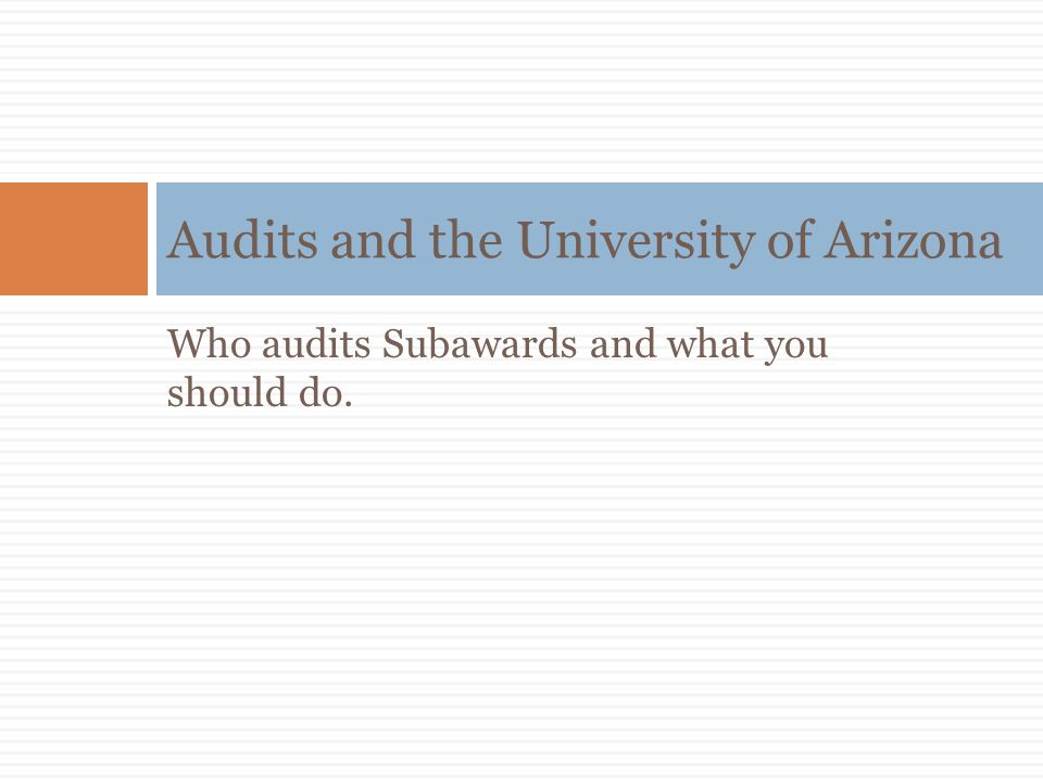 Audits and the University of Arizona
