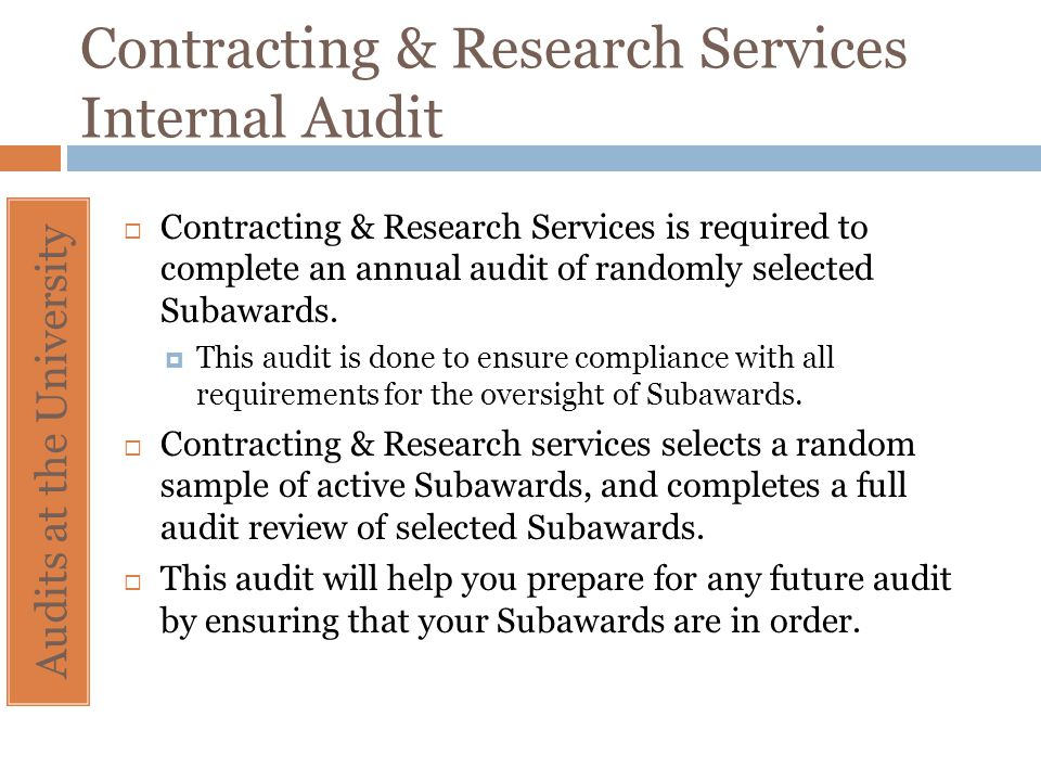 Contracting & Research Services Internal Audit