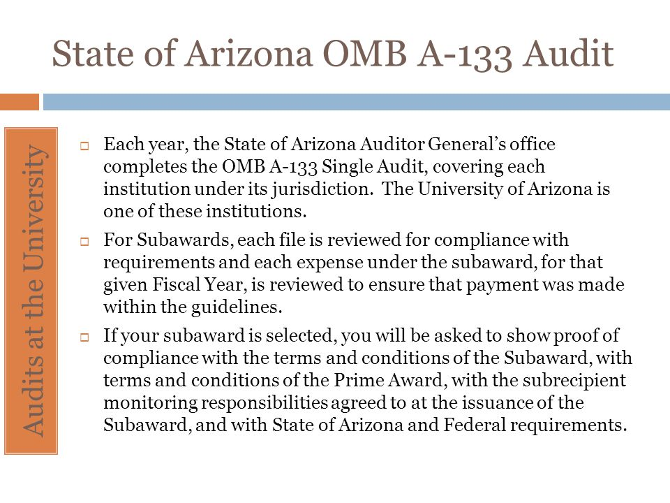 State of Arizona OMB A-133 Audit