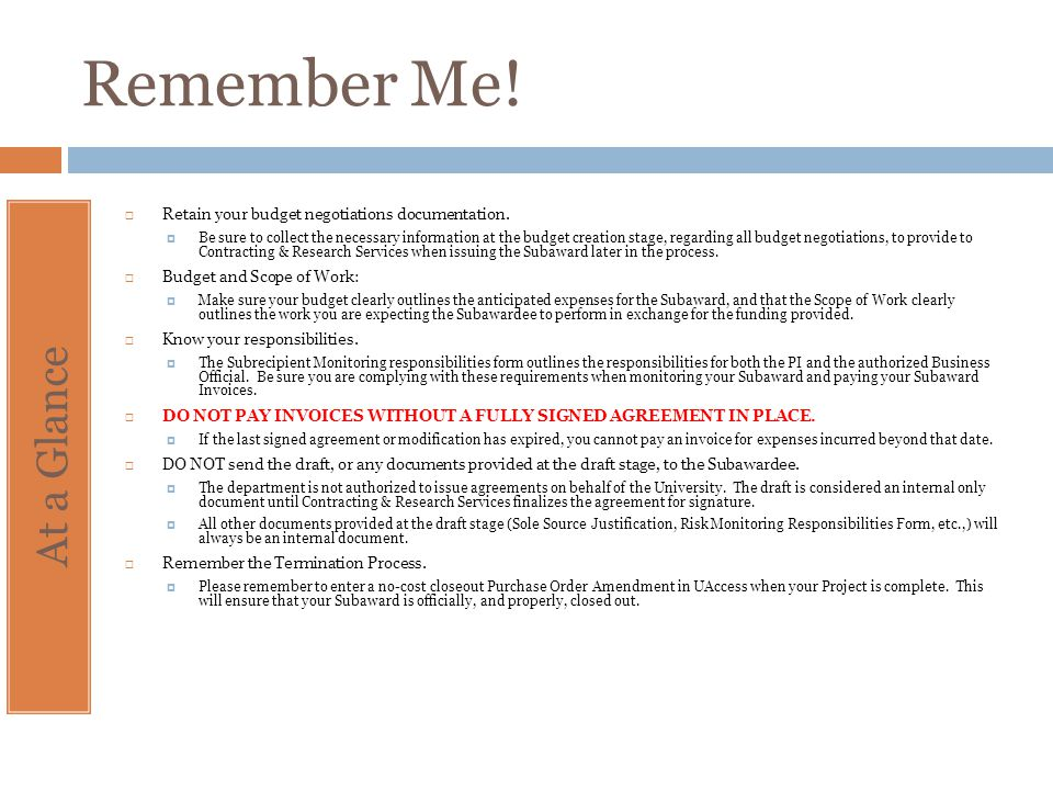 Remember Me! Retain your budget negotiations documentation.