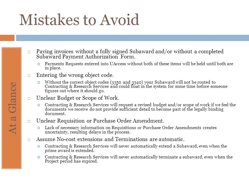 Mistakes to Avoid At a Glance