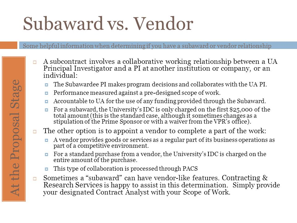 Subaward vs. Vendor At the Proposal Stage