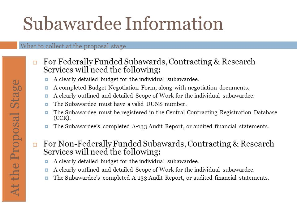 Subawardee Information