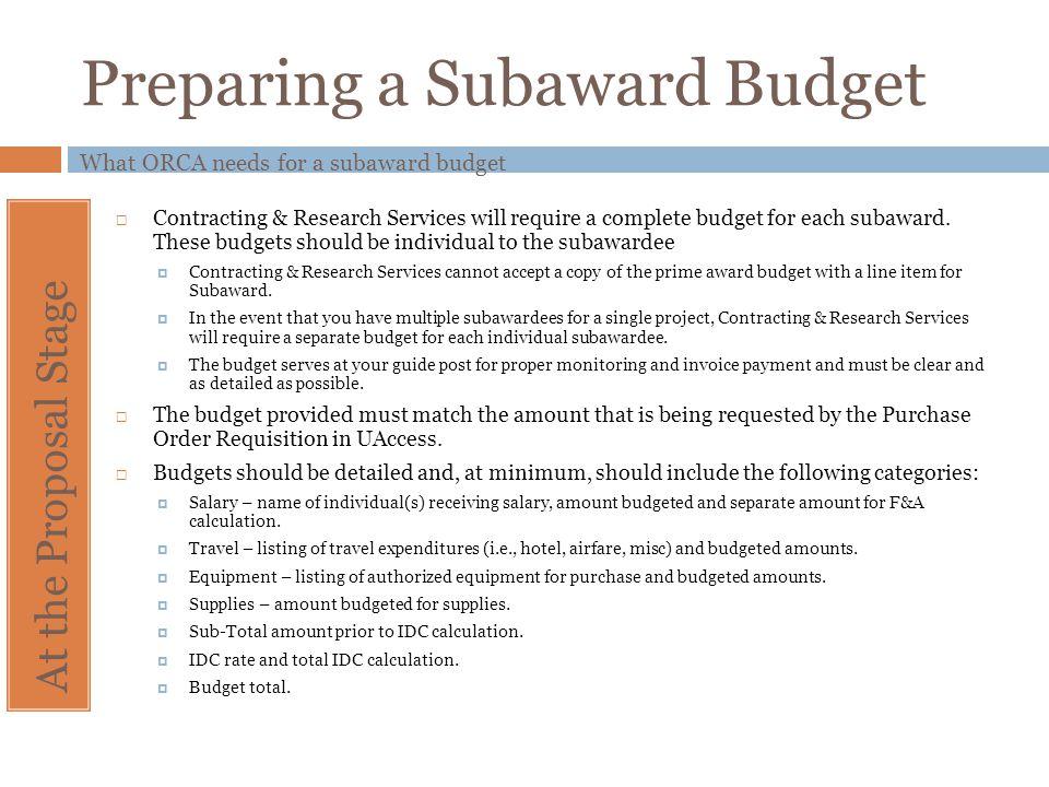 Preparing a Subaward Budget
