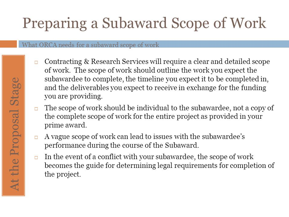 Preparing a Subaward Scope of Work