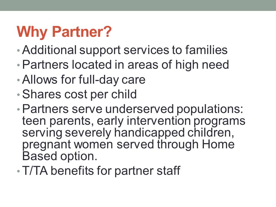 Why Partner Additional support services to families