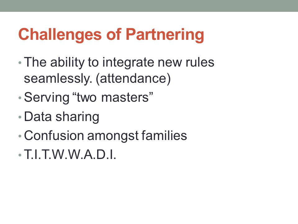 Challenges of Partnering