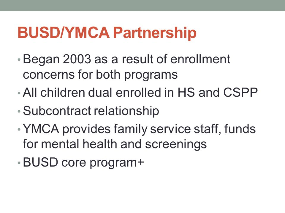 BUSD/YMCA Partnership