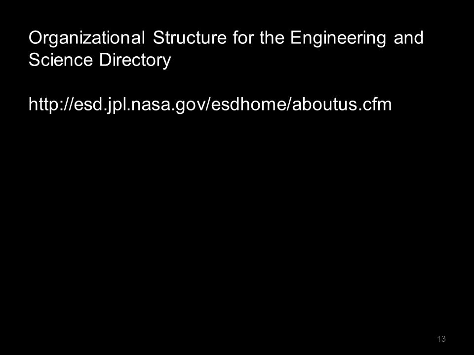 Organizational Structure for the Engineering and Science Directory http://esd.jpl.nasa.gov/esdhome/aboutus.cfm