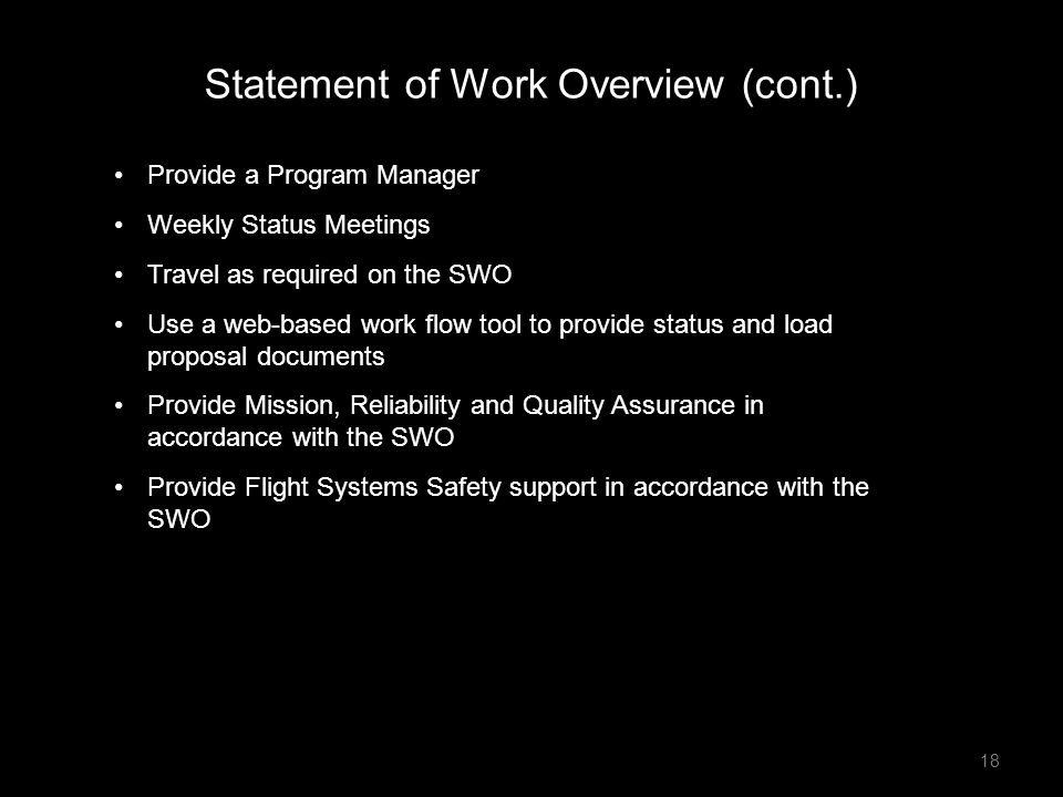 Statement of Work Overview (cont.)