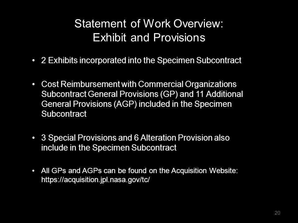 Statement of Work Overview: Exhibit and Provisions