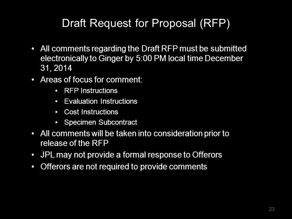 Draft Request for Proposal (RFP)