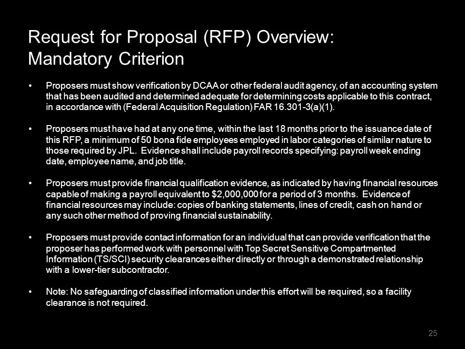 Request for Proposal (RFP) Overview: Mandatory Criterion