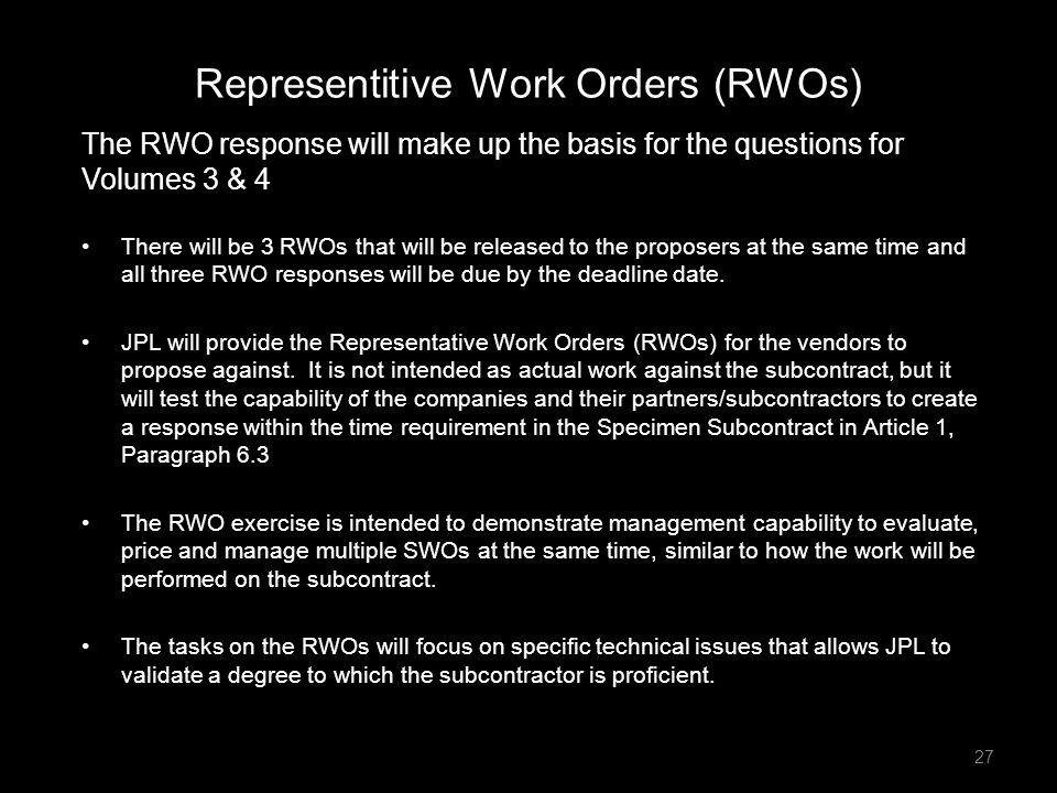 Representitive Work Orders (RWOs)