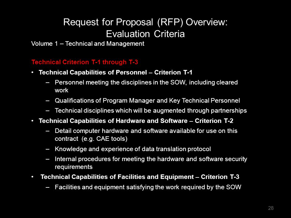 Request for Proposal (RFP) Overview: Evaluation Criteria
