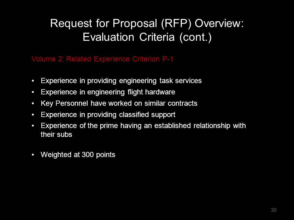 Request for Proposal (RFP) Overview: Evaluation Criteria (cont.)