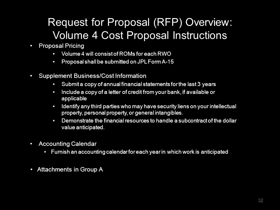 Request for Proposal (RFP) Overview: Volume 4 Cost Proposal Instructions