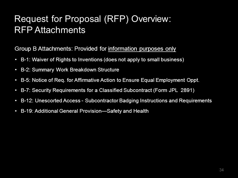Request for Proposal (RFP) Overview: RFP Attachments