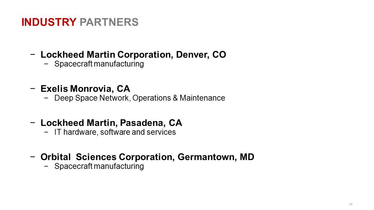 INDUSTRY PARTNERS Lockheed Martin Corporation, Denver, CO