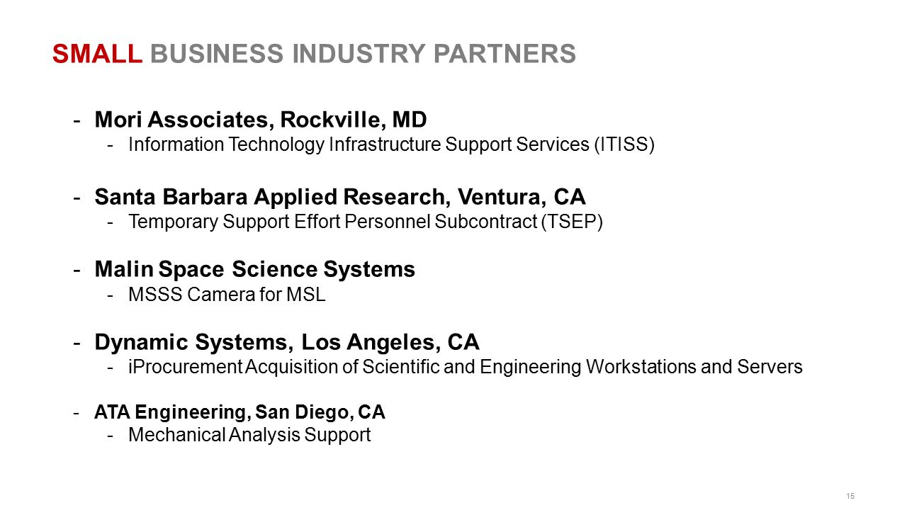 SMALL BUSINESS INDUSTRY PARTNERS