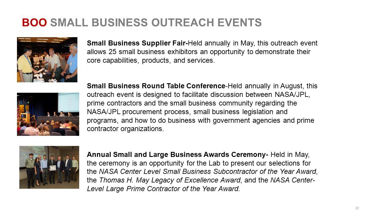BOO SMALL BUSINESS OUTREACH EVENTS