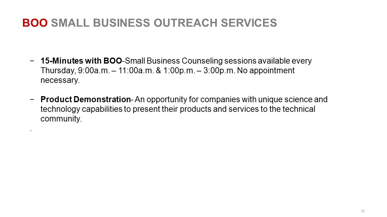 BOO SMALL BUSINESS OUTREACH SERVICES
