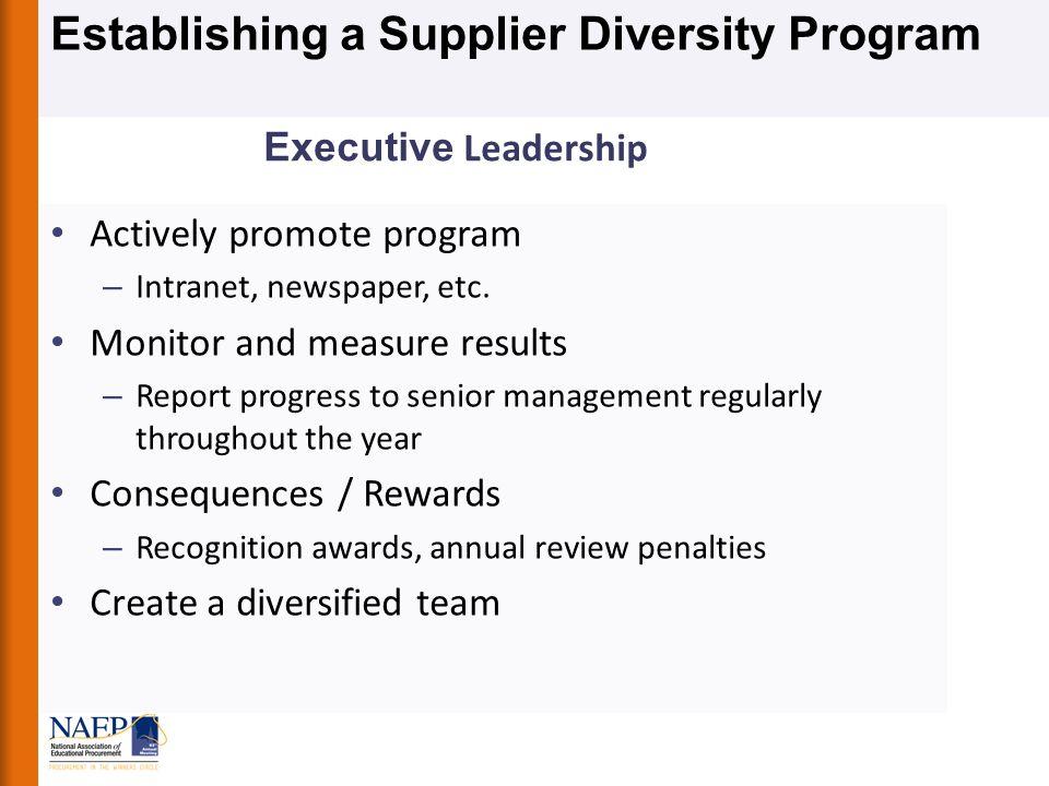 Establishing a Supplier Diversity Program