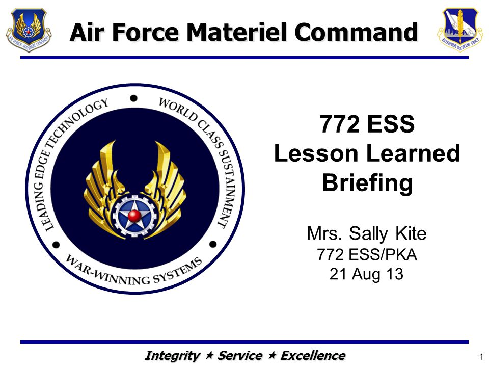 772 ESS Lesson Learned Briefing