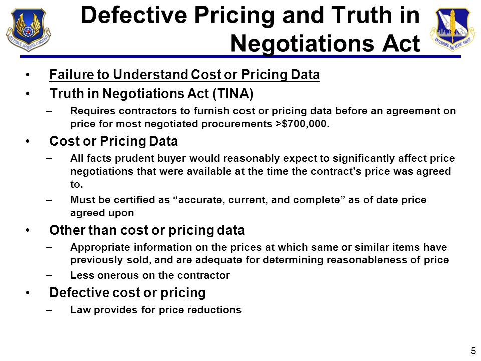 Defective Pricing and Truth in Negotiations Act