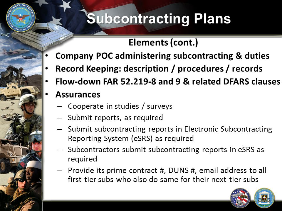 Subcontracting Plans Elements (cont.)