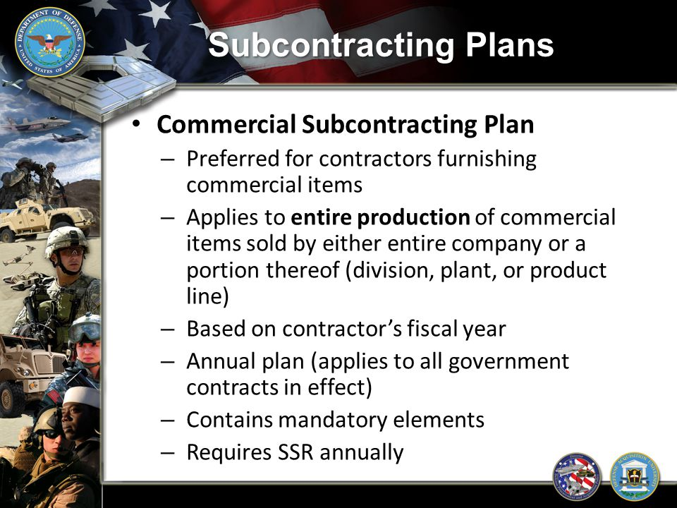 Subcontracting Plans Commercial Subcontracting Plan