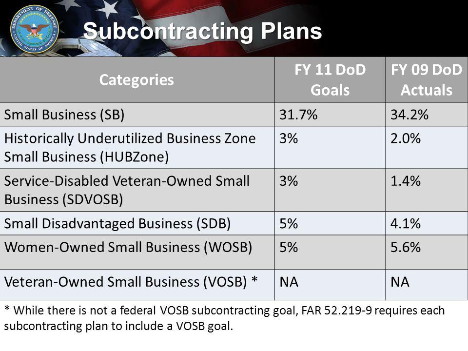 Subcontracting Plans Categories FY 11 DoD Goals FY 09 DoD Actuals